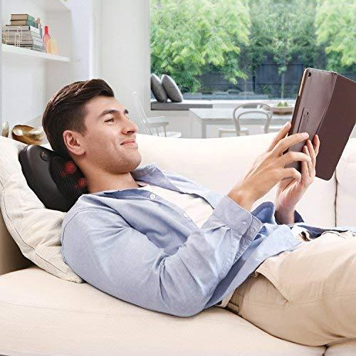 naipo massage pillow neck back massager with heat shiatsu deep kneading relax
