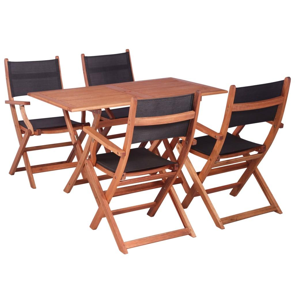 5 Piece Outdoor Dining Set Solid Eucalyptus Wood And Textilene Matt Blatt