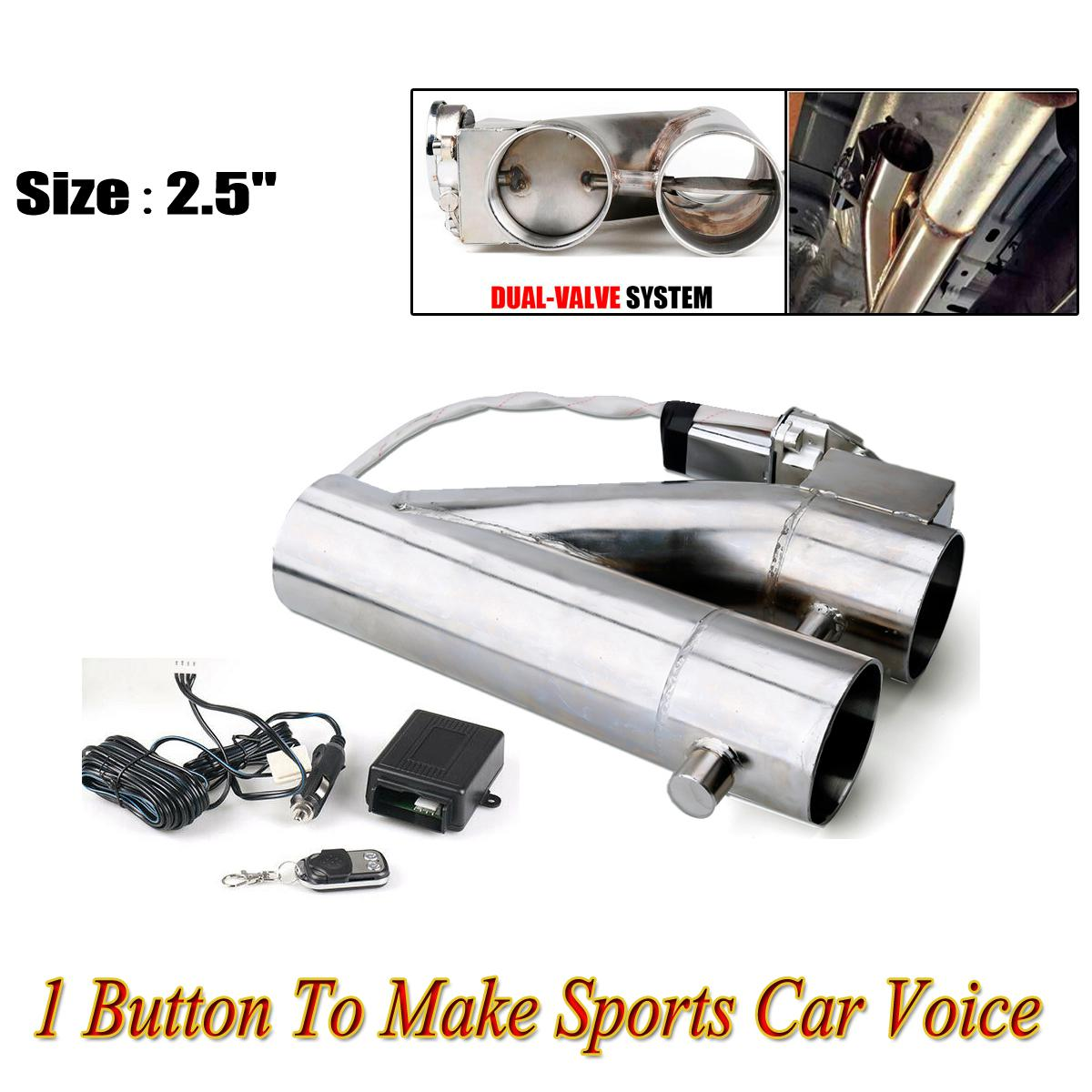 2 5 3 dual valve exhaust e cut out electric y pipe w remote kit sports car 2 5inch 63mm