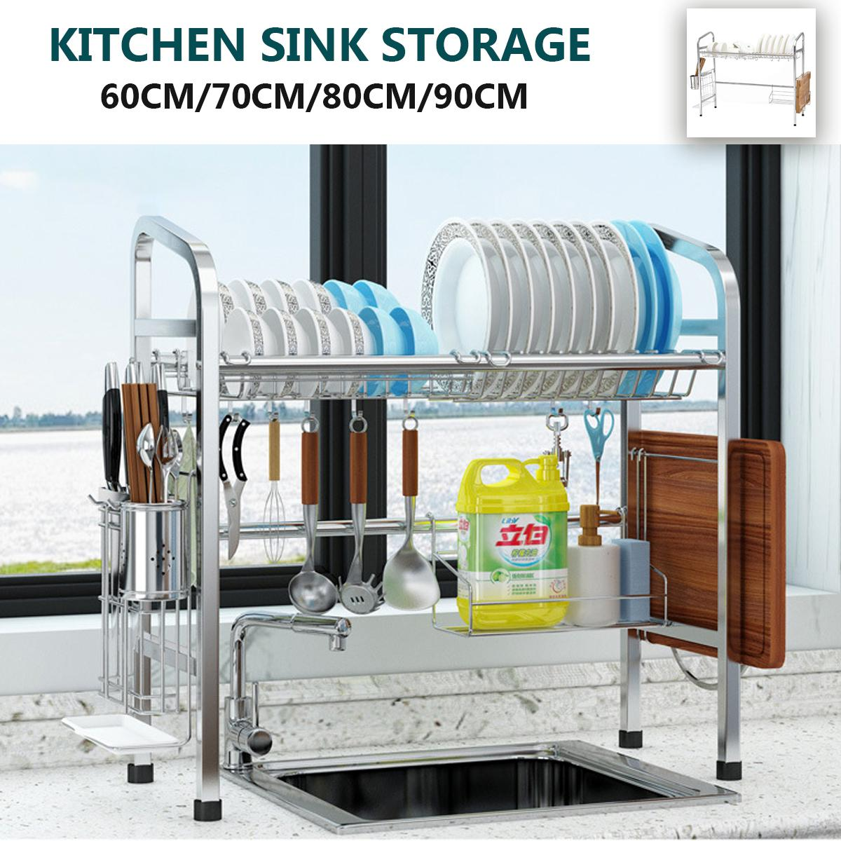 over sink dish drying rack drainer stainless steel kitchen cutlery holder shelf 60cm