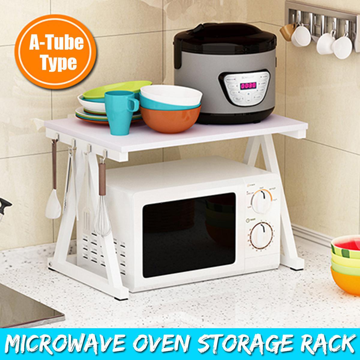 2 tier kitchen organizer kitchen shelf microwave oven rack stand holder wooden condiment storage racks holders