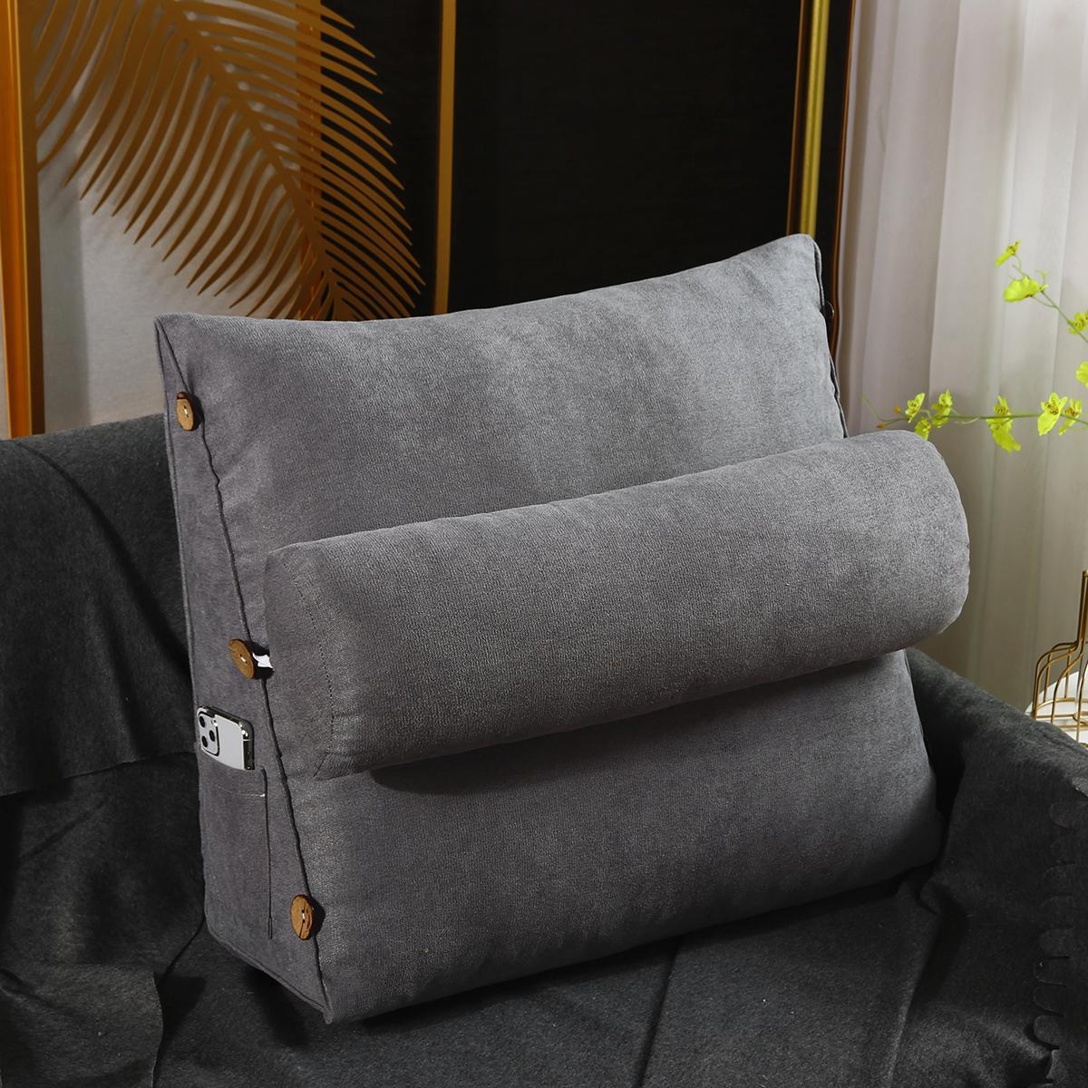 wedge lumbar pillow support cushion backrest bolster soft headboard home bedroom light grey