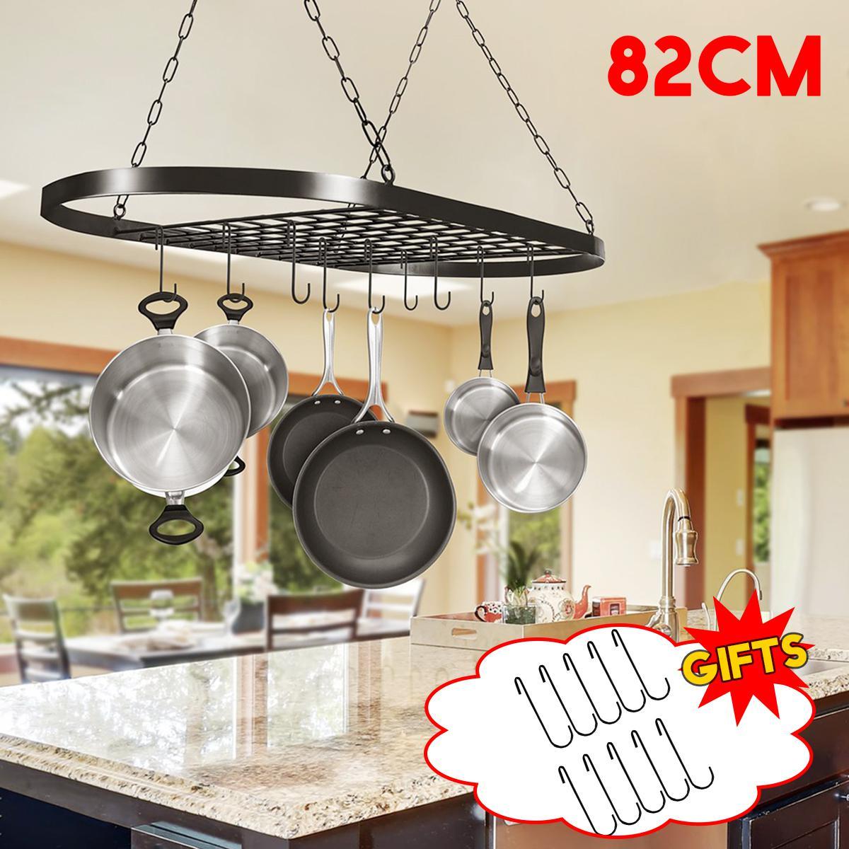 iron hanging pot saucepan pan hanger storage rack 10 hooks large cookware racks holders