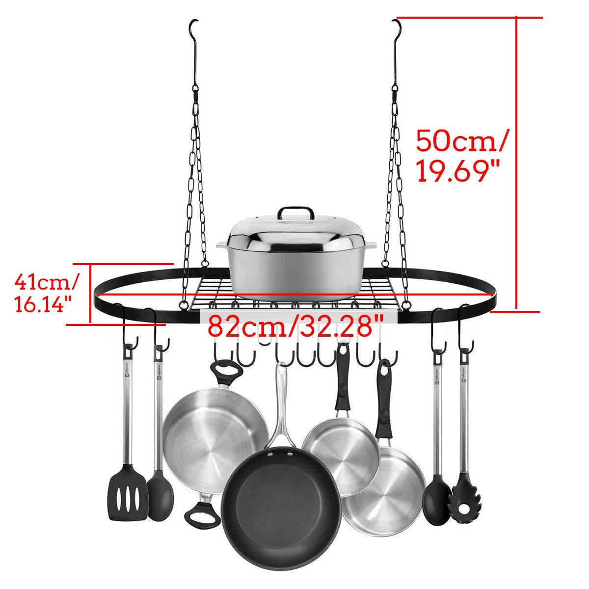 iron hanging pot saucepan pan hanger storage rack 10 hooks large cookware