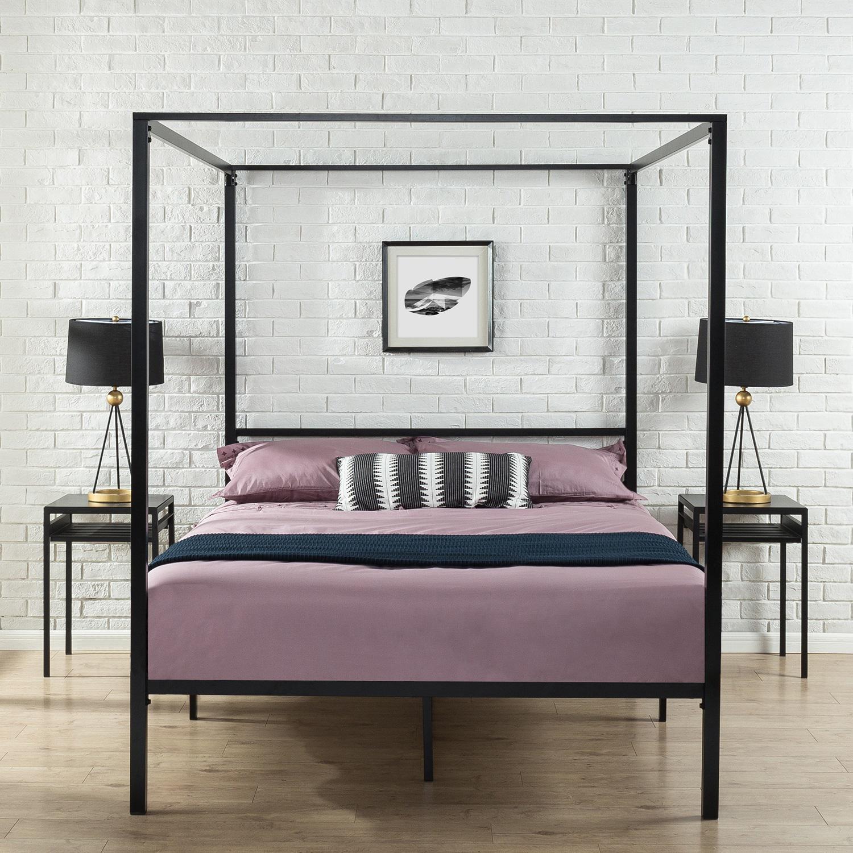Zinus Patricia Black Metal Steel Four Poster Bed Frame Platform Canopy Bedroom Furniture Double Queen Single Size Matt Blatt