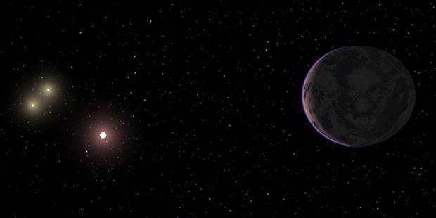 Ilustrasi sistem tiga bintang tempat planet GJ667Cc terdapat.