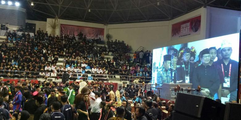 Pembukaan Kejuaraan dunia Pencak Silat ke 17 di Denpasar, Bali, Sabtu(3/12/2016).