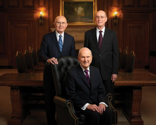 The official portrait of the First Presidency of The Church of Jesus Christ of Latter-day Saints: President Russell M. Nelson, President Dallin H. Oaks, and President Henry B. Eyring.
