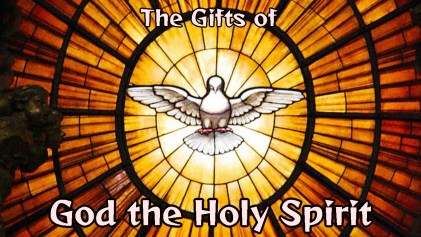 Stained Glass of the Holy Spirit with Text