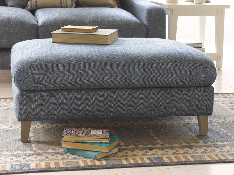 small square legsie footstool in thatch house fabric