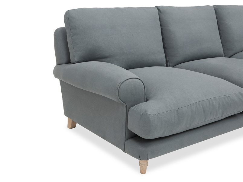 large left hand slowcoach chaise sofa in thatch house fabric