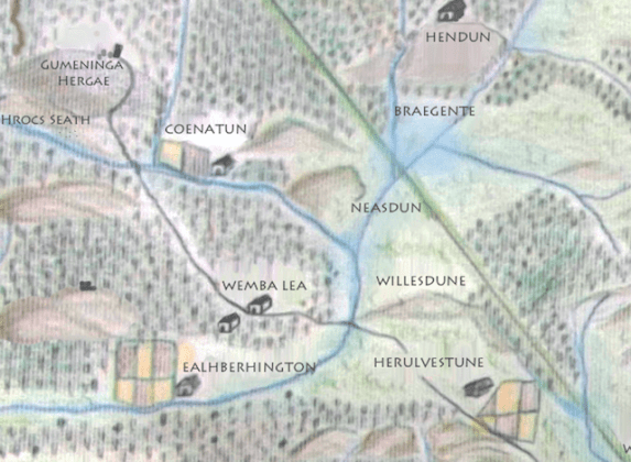 Anglo Saxon London Map  Updated   Londonist North west London  with the  nose shaped hill   Neasdun