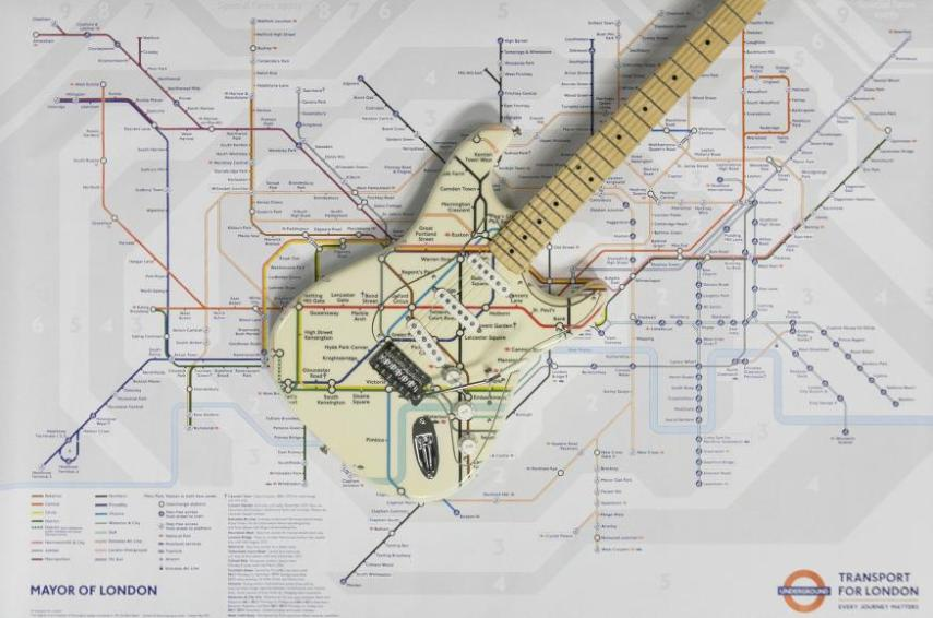 London News Roundup  A Tube Map Fender Stratocaster   Londonist A Fender Stratocaster with a very familiar design  made for the London  Transport Museum s Transported By Design exhibition