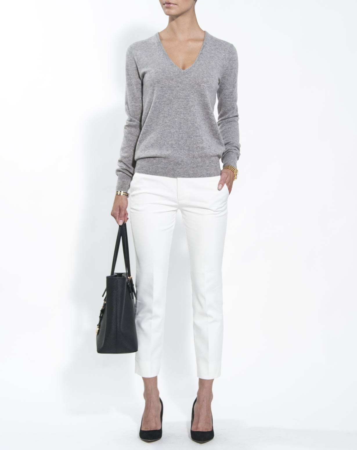 Womens V Neck Sweater With Collared Shirt Underneath 21th Blouse