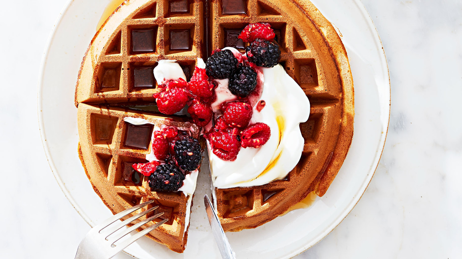 Whole Wheat Waffles With Greek Yogurt And Mixed Berries