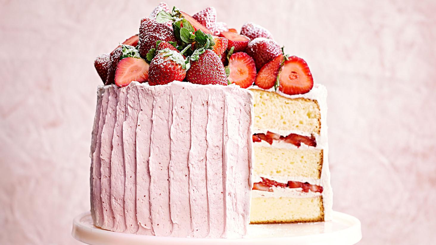 Vanilla Sponge Cake With Strawberry Meringue Buttercream