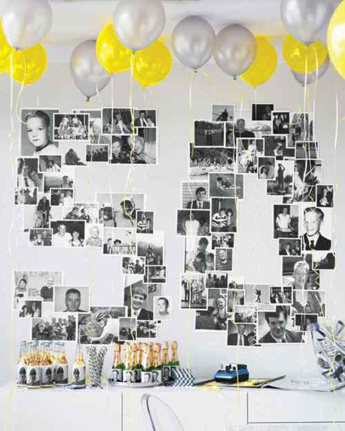 Balloon Decorations Black and White Photos Fifty Years Old Birthday Party Silver and Yellow Balloons Mini Champagne Bottles