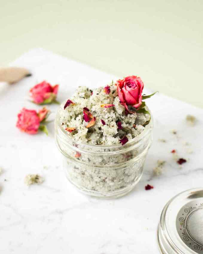 DIY Lip Scrub, green tea and rose sugar scrub