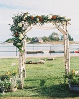 59 Wedding Arches That Will Instantly Upgrade Your Ceremony   Martha     Birch Wedding Chuppah with White and Burnt Sienna Foliage