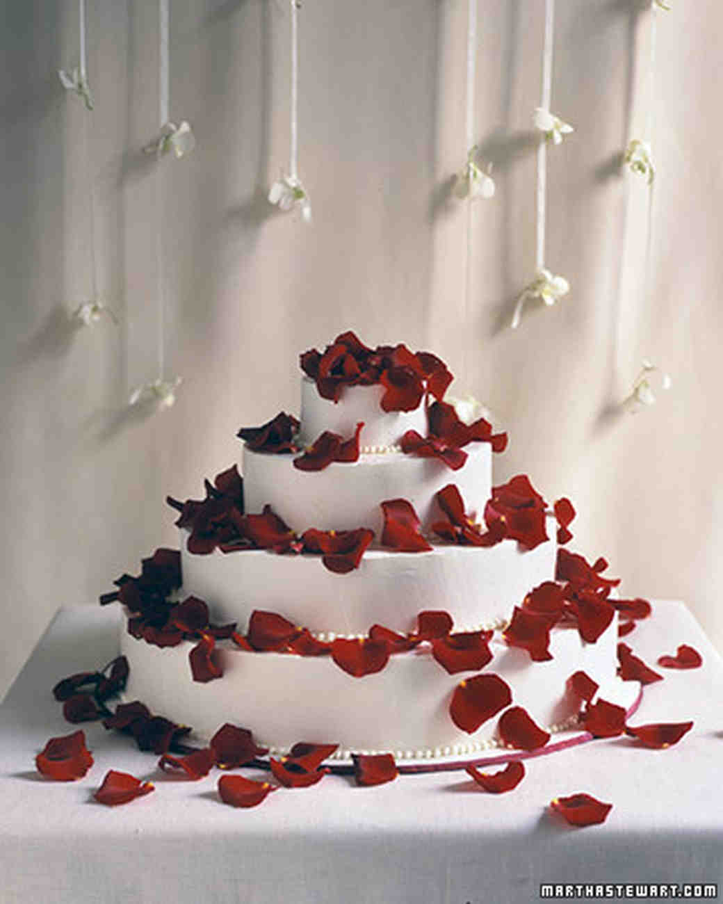 Red Wedding Cakes   Martha Stewart Weddings Petal Shower Cake