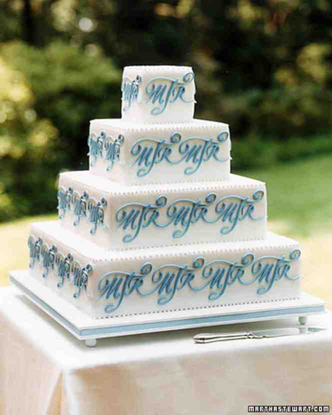Upside Down Square White And Blue Circles Dots Modern Unique Custom Wedding Cake Design