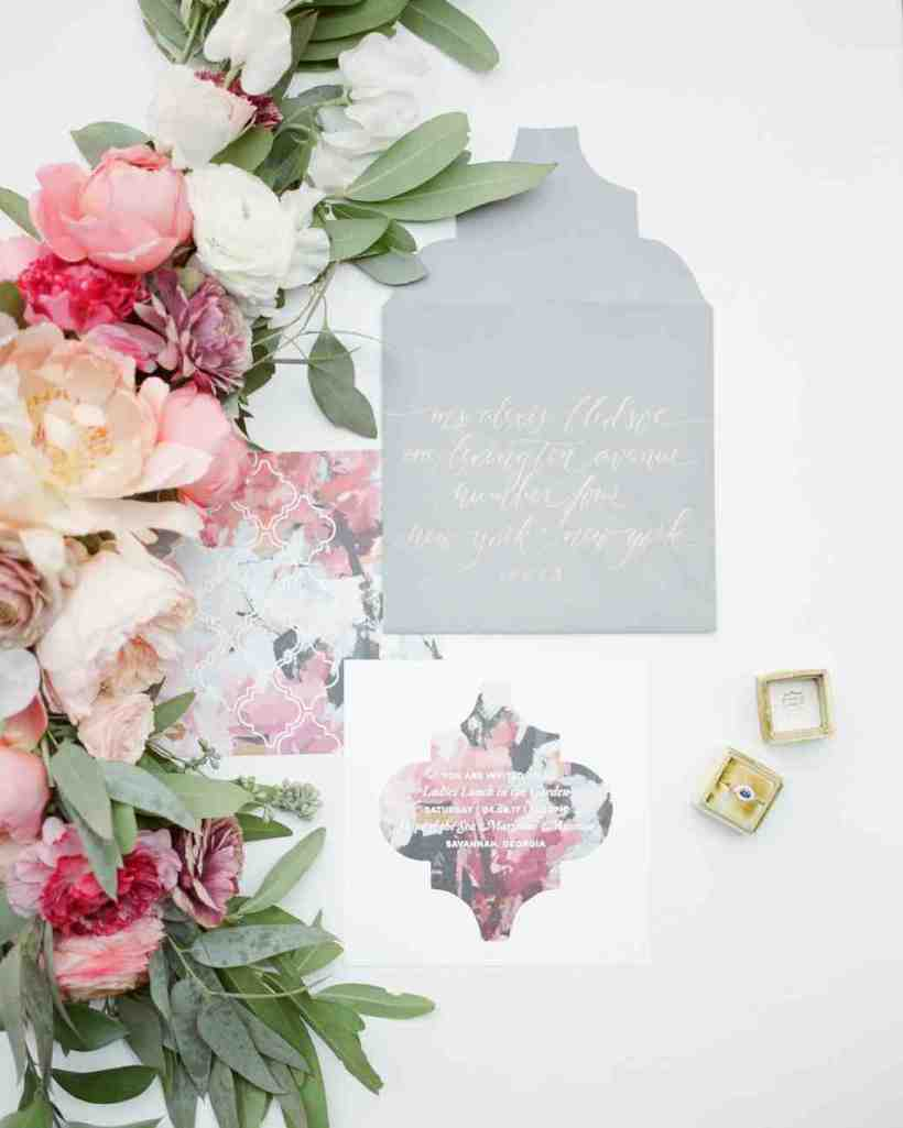 Gray And Pink Fl Invitation Suite With Bright Garland