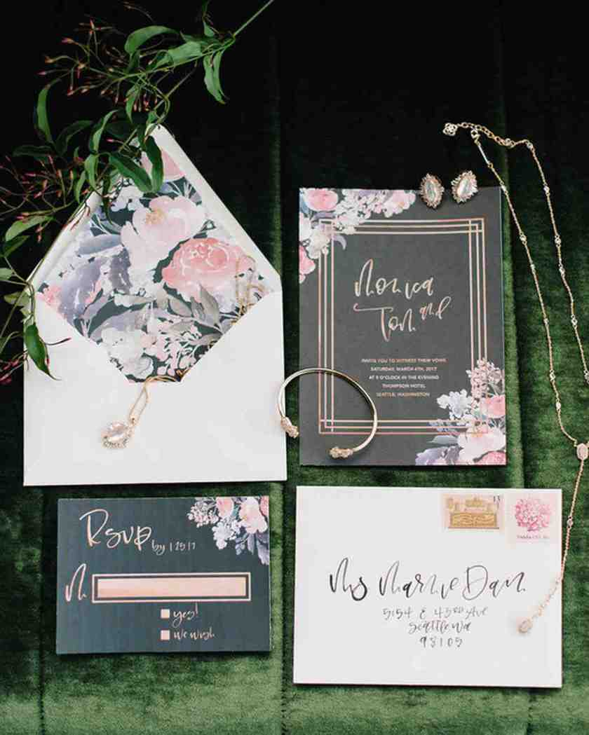 Dark Gray And Fl Wedding Invitations With Calligraphy