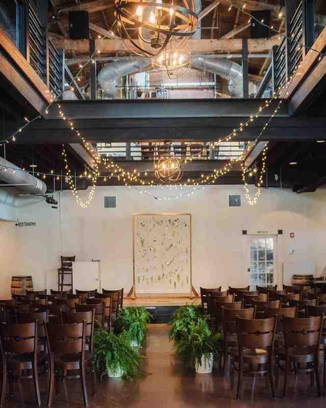 brewery wedding venues indoor rustic ceremony