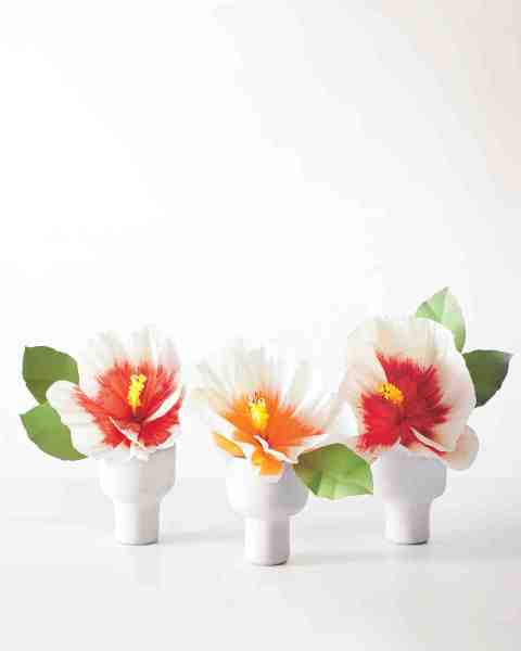 How to Make Paper Flowers  Hibiscus   Martha Stewart Weddings How to Make Paper Flowers  Hibiscus