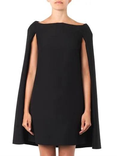 Valentino Wool-blend cape dress