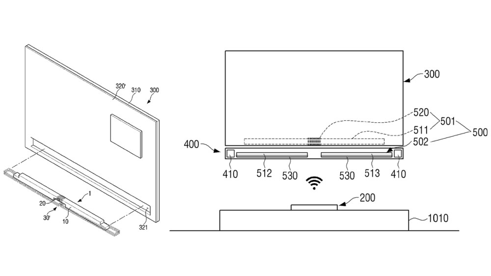 テレビの背面から伸びるケーブルが消えるか。サムスン、ワイヤレスなTV壁付けシステムを特許申請