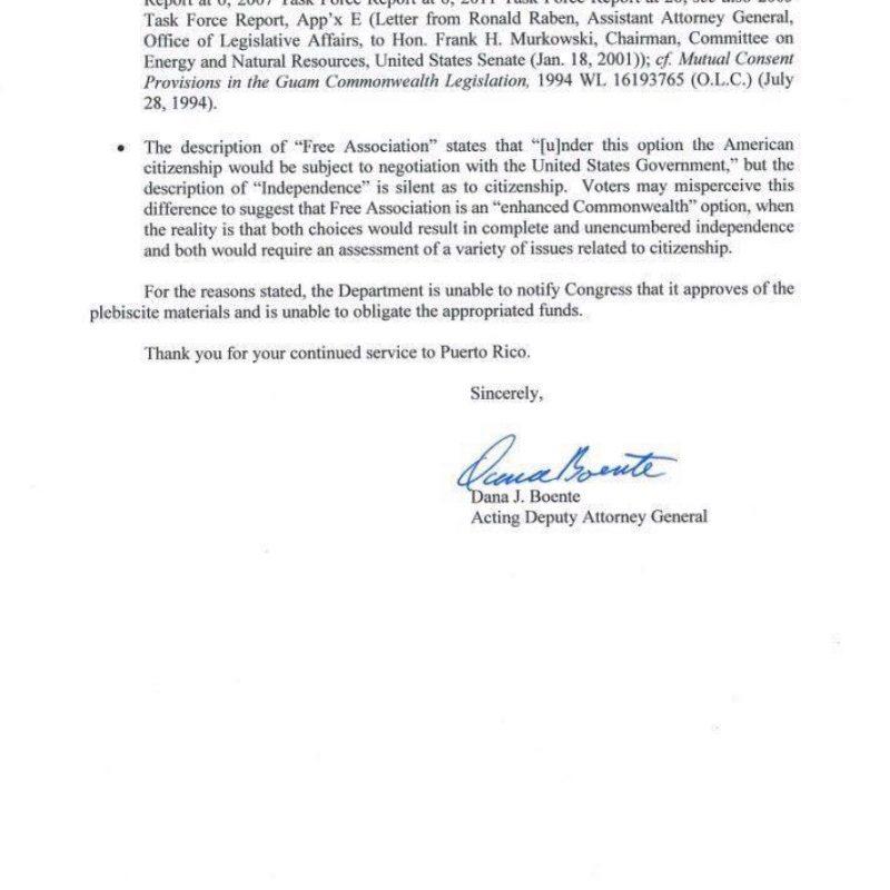 Carta del Departamento de Justicia enviada hoy al gobernador de Puerto Rico, Ricardo Roselló. / Suministrada