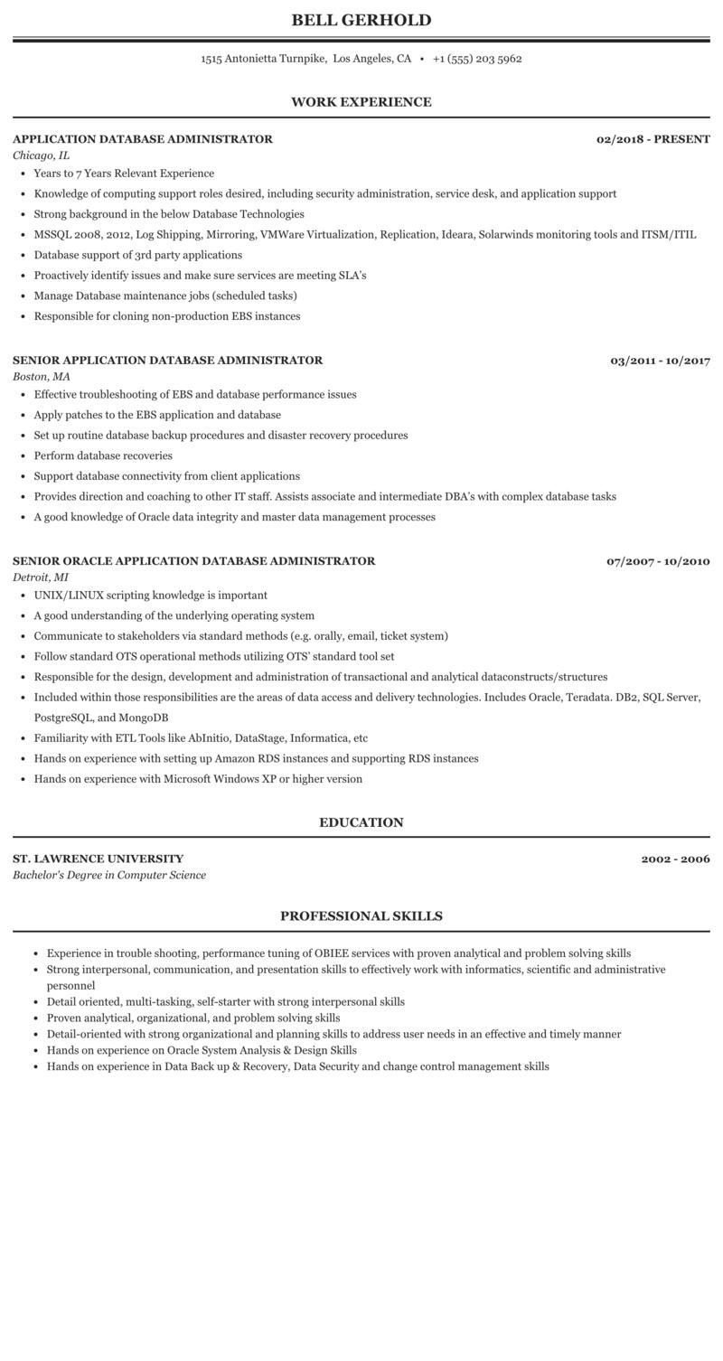 Application Database Administrator Resume Sample Mintresume