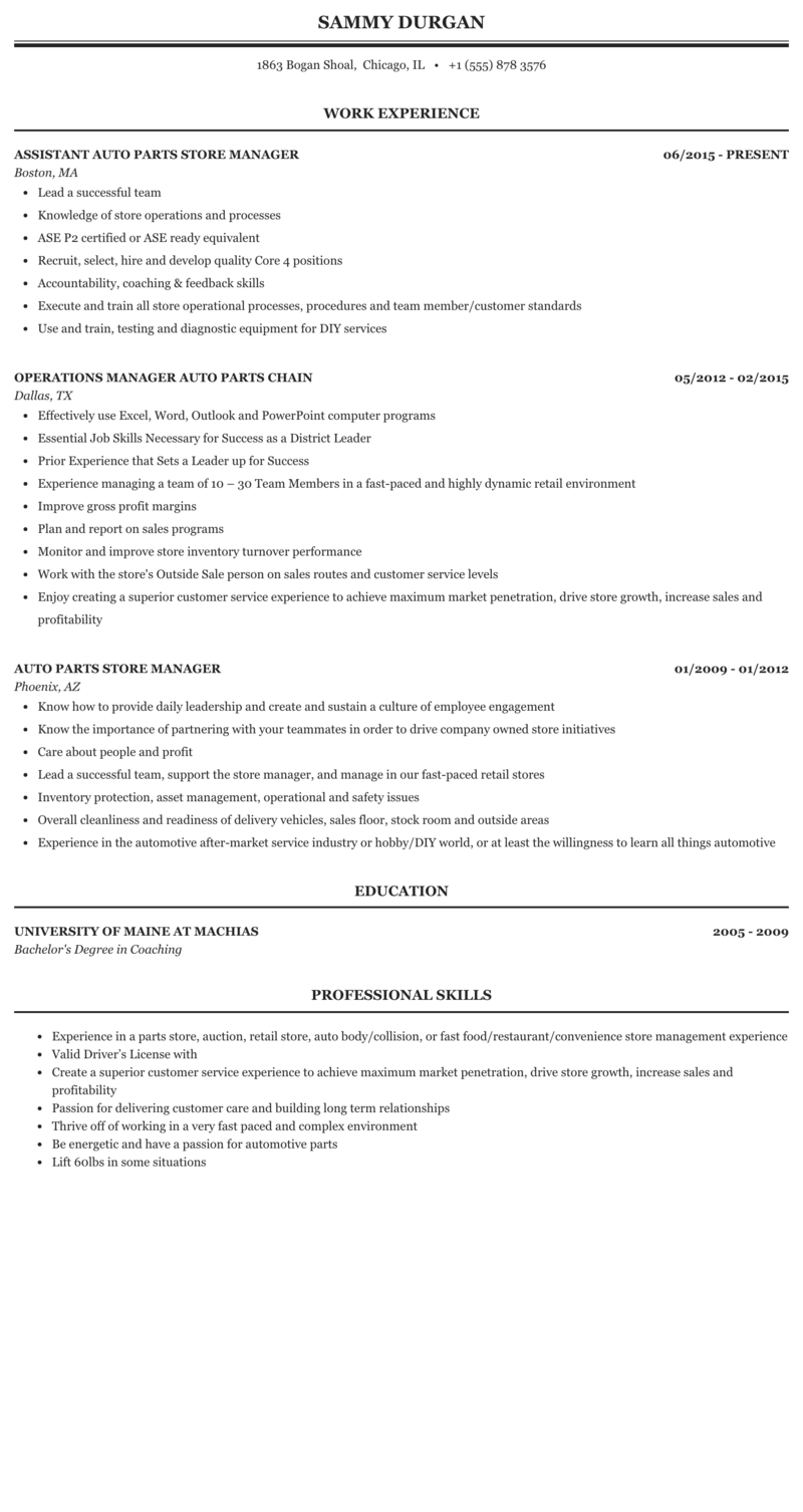 Auto Parts Manager Resume Sample Mintresume