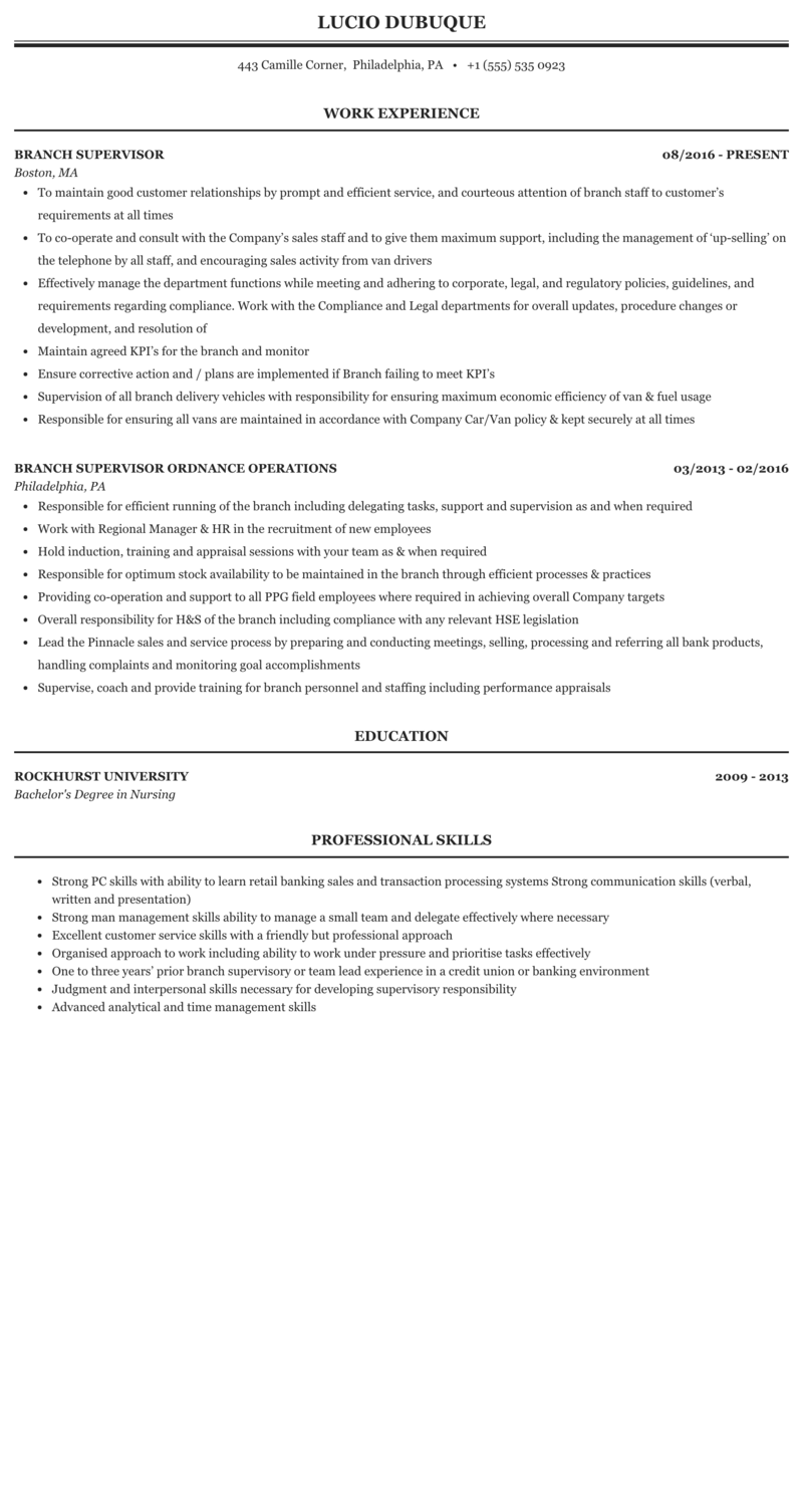 Branch Supervisor Resume Sample Mintresume