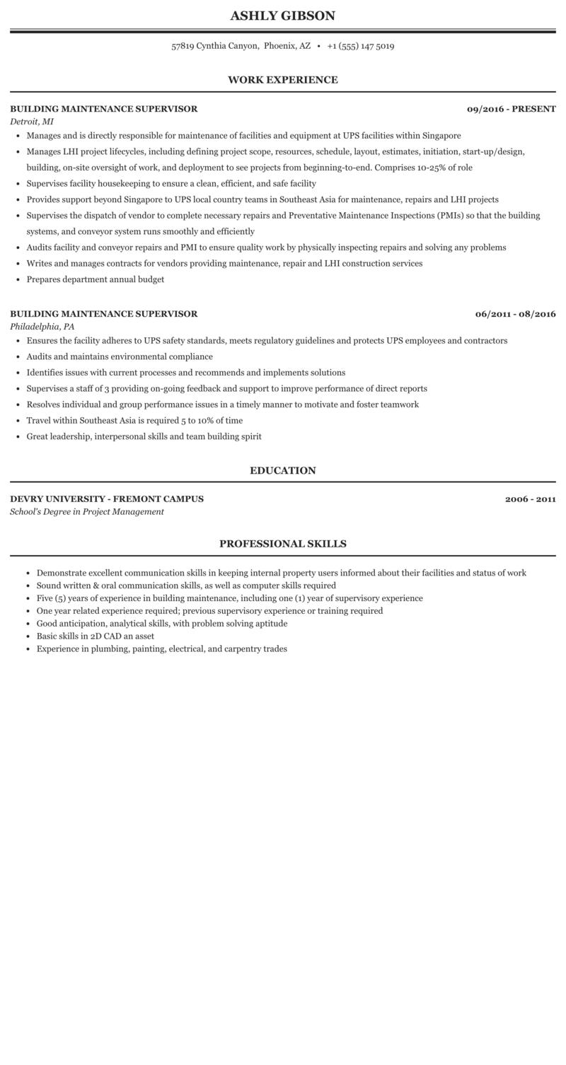 Building Maintenance Supervisor Resume Sample Mintresume