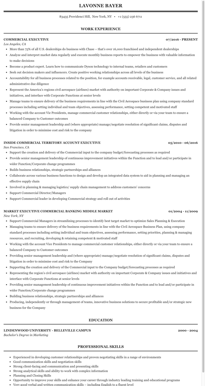 Commercial Executive Resume Sample Mintresume