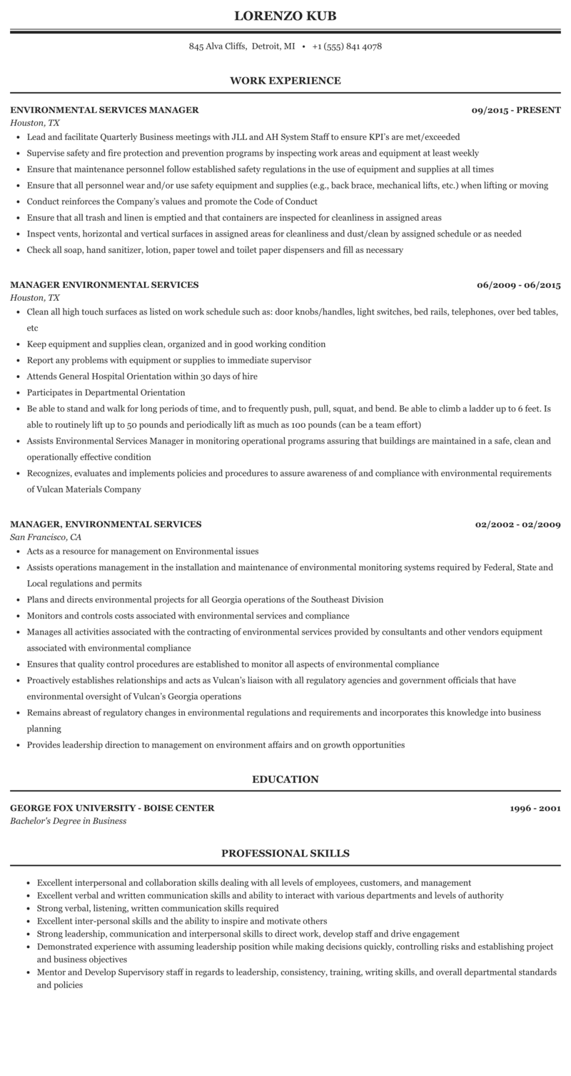 Environmental Services Manager Resume Sample Mintresume