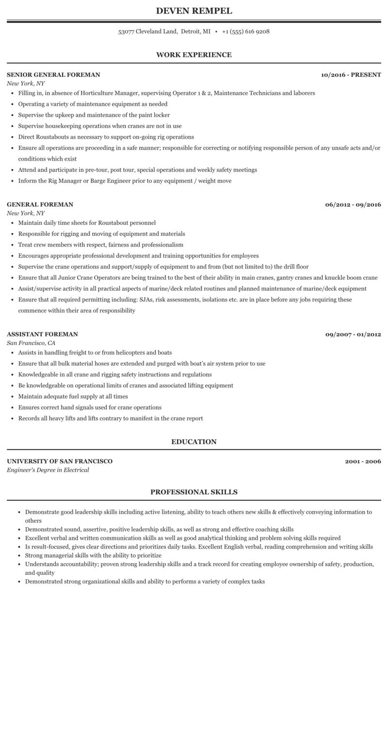 Foreman Resume Sample Mintresume