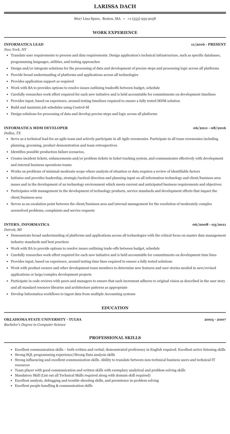 Informatica Resume Sample Mintresume
