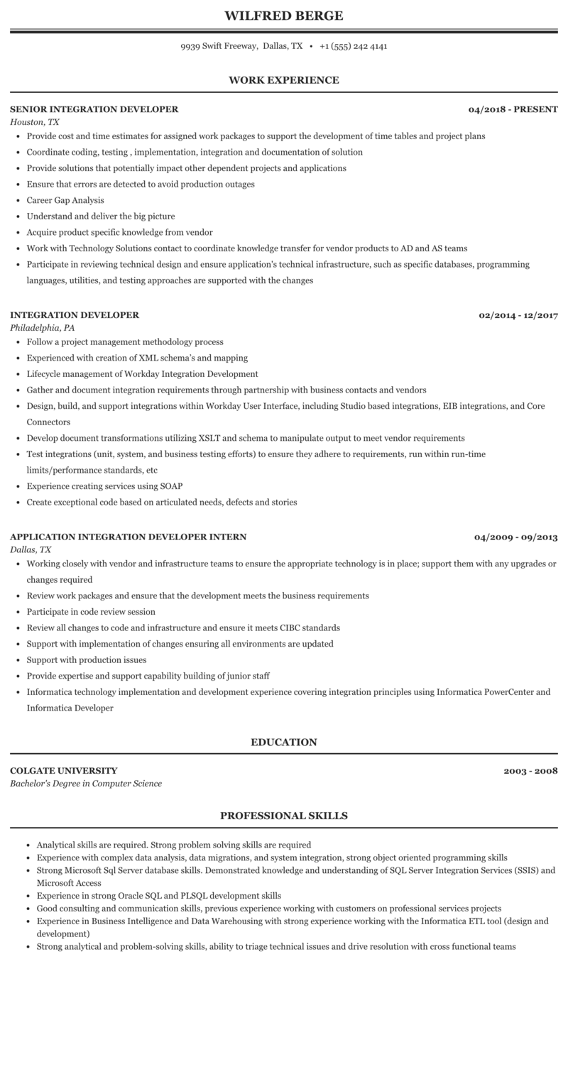 Integration Developer Resume Sample Mintresume