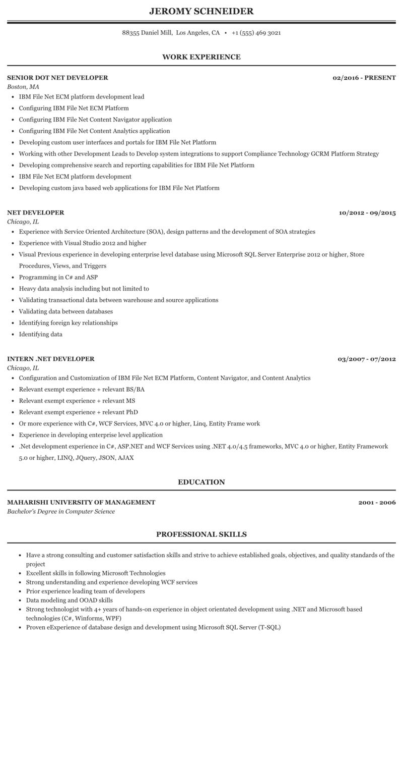 Net Developer Resume Sample Mintresume