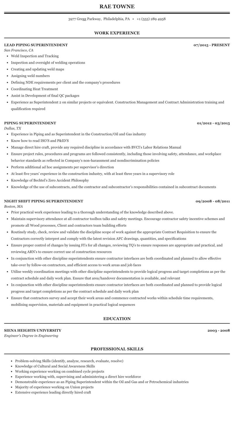 Piping Superintendent Resume Sample Mintresume