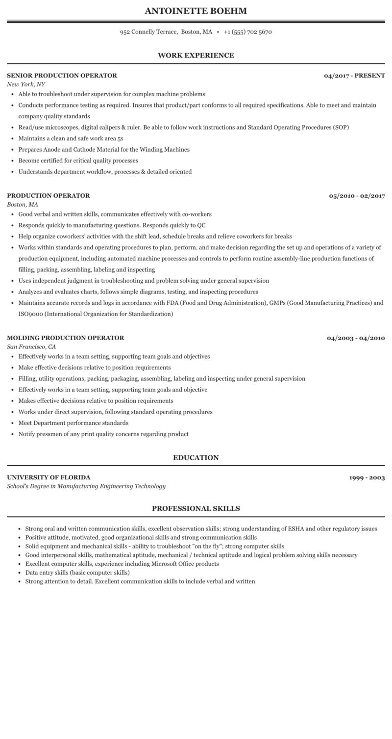 Production Operator Resume Sample Mintresume