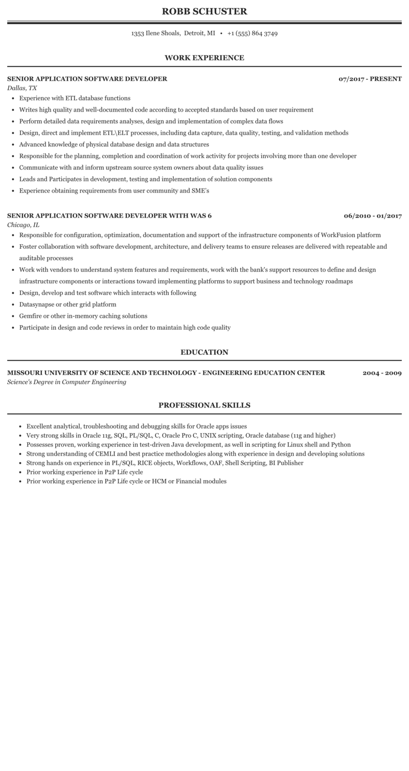 Senior Application Software Developer Resume Sample Mintresume