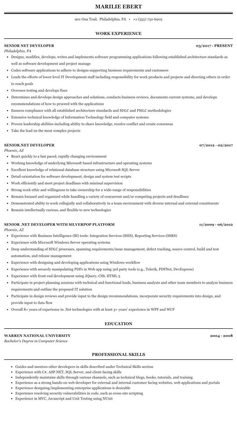Senior Net Developer Resume Sample Mintresume
