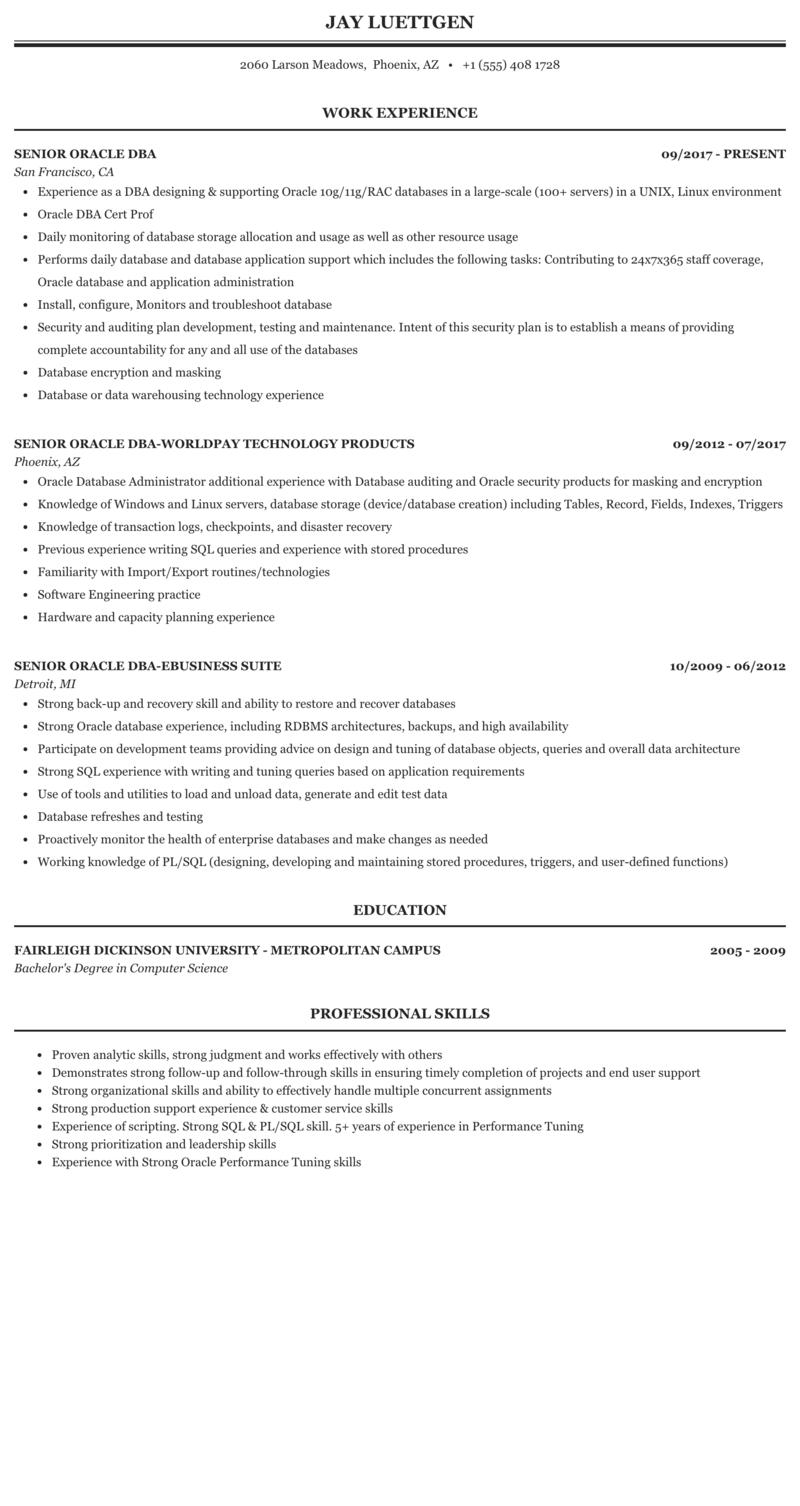 Senior Oracle Dba Resume Sample Mintresume