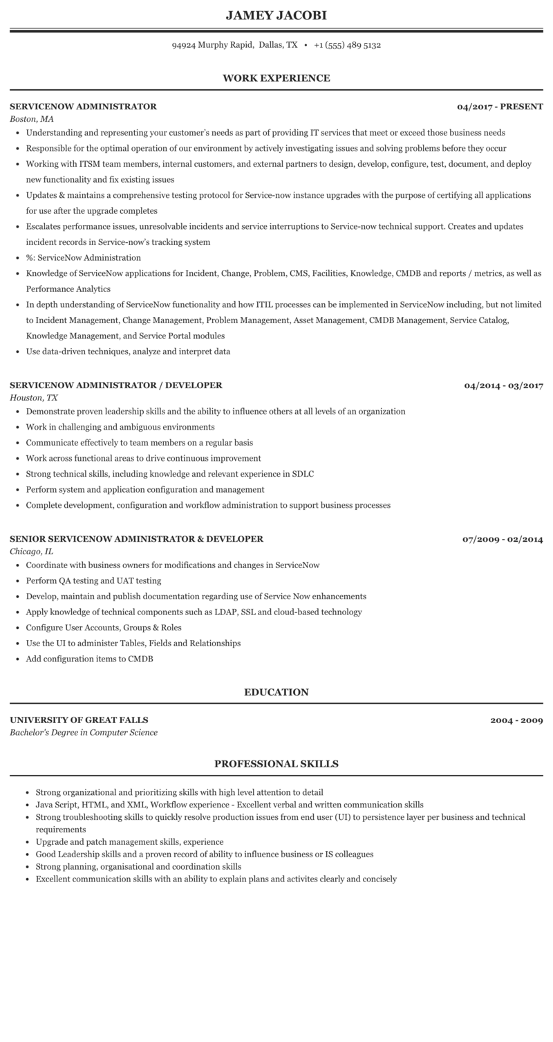 Servicenow Administrator Resume Sample Mintresume