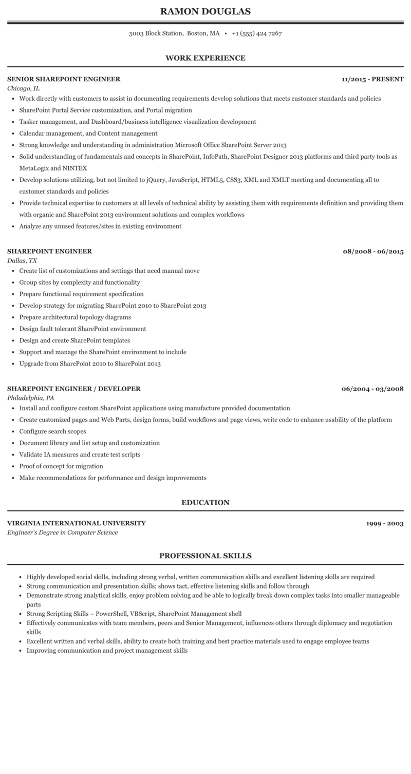 Sharepoint Engineer Resume Sample Mintresume