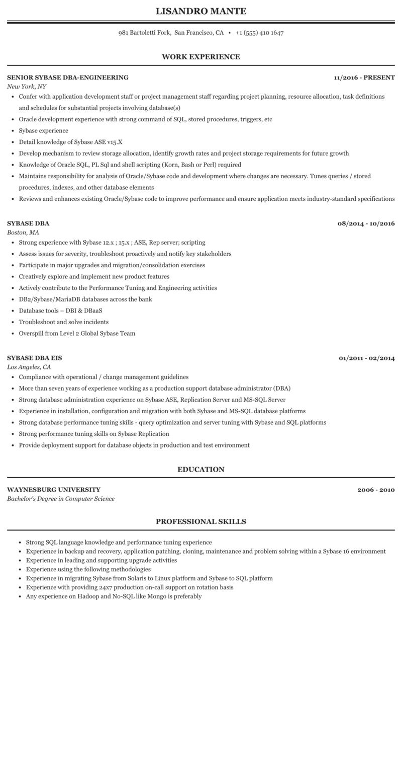 Sybase Dba Resume Sample Mintresume